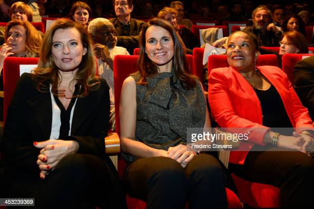 Valerie Trierweiler French minister for cultural and communication Aurelie Filipetti and French justice minister Christine Taubira attend 'La Peste...