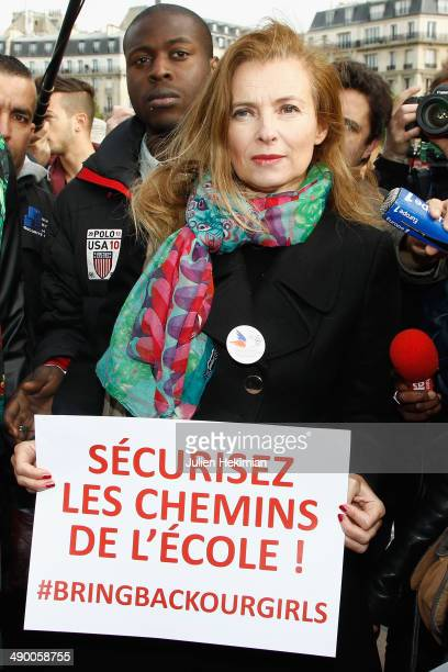 Valerie Trierweiler participates to the demonstration in support for kidnapped Nigerian schoolgirls at the Trocadero on May 13 2014 in Paris France