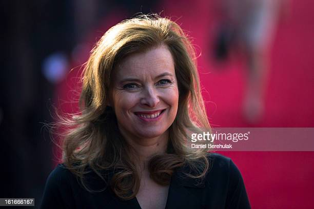 Valerie Trierweiler partner of Francois Hollande smiles at a reception at Rashtrapati Bhavan the Presidential Palace on February 14 2013 in New Delhi...
