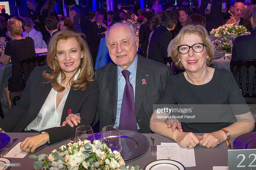 Valerie Trierweiler, Pierre Berge and French Research Minister, Genevieve Fioraso, attend the Sidaction Gala Dinner 2013 at Pavillon d'Armenonville on January 24, 2013 in Paris, France.
