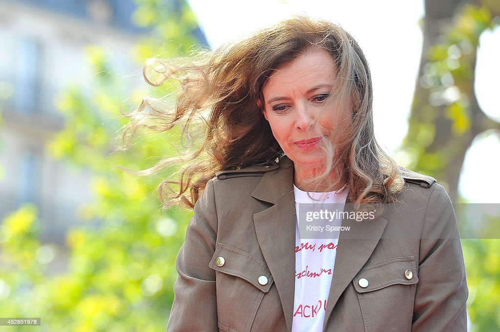 <a gi-track='captionPersonalityLinkClicked' href=/galleries/search?phrase=Valerie+Trierweiler&family=editorial&specificpeople=8534231 ng-click='$event.stopPropagation()'>Valerie Trierweiler</a> poses during the 'Bring Back Our Girls' Ephemeral Exhibition, bringing awareness to the 220 young women kidnapped in Nigeria now more than 100 days ago, on July 28, 2014 in Paris, France. The ELLE Foundation is working to support women's rights and 'Bring Back Our Girls' - Ephemeral Exhibition by displaying 220 silhouettes at Place de la Republique.