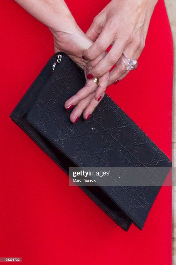 Valerie Trierweiler (handbag detail) poses to attend a state dinner at Palace Elysee on May 7, 2013 in Paris, France.