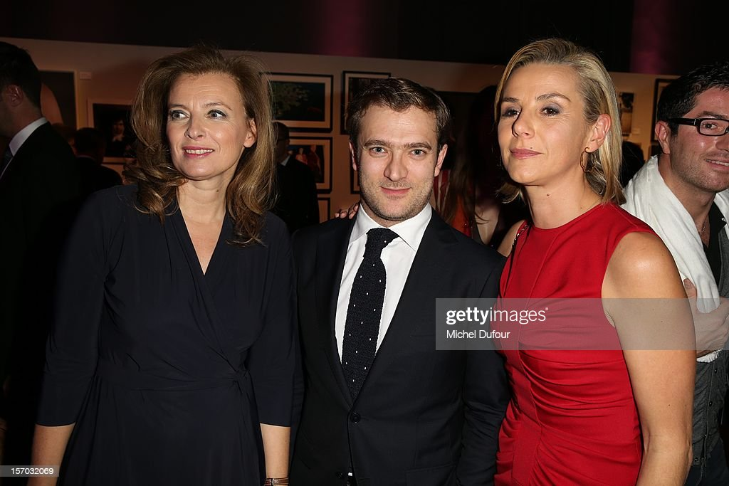 Valerie Trierweiler, Renaud Capucon and wife Laurence Ferrari attend the AIDES International Gala Dinner at Grand Palais on November 27, 2012 in Paris, France.