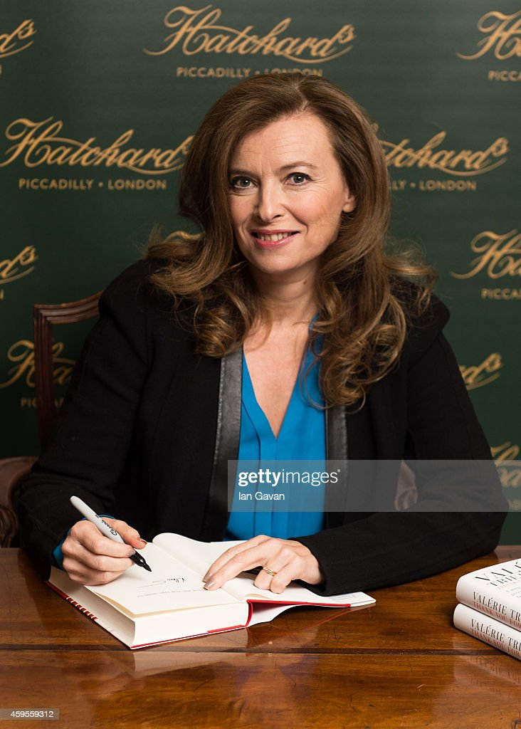 Valerie Trierweiler signs copies of her book 'Thanks for the moment' at Hatchards on November 25, 2014 in London, England.