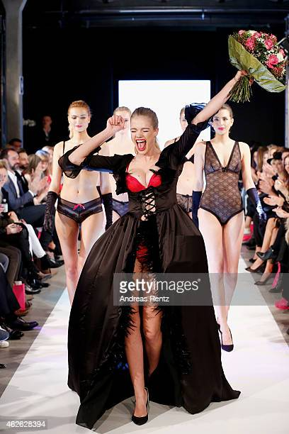 Valerie van der Graaf and models walk the runway at the Passionata show during the Platform Fashion February 2015 on February 1 2015 in Duesseldorf...
