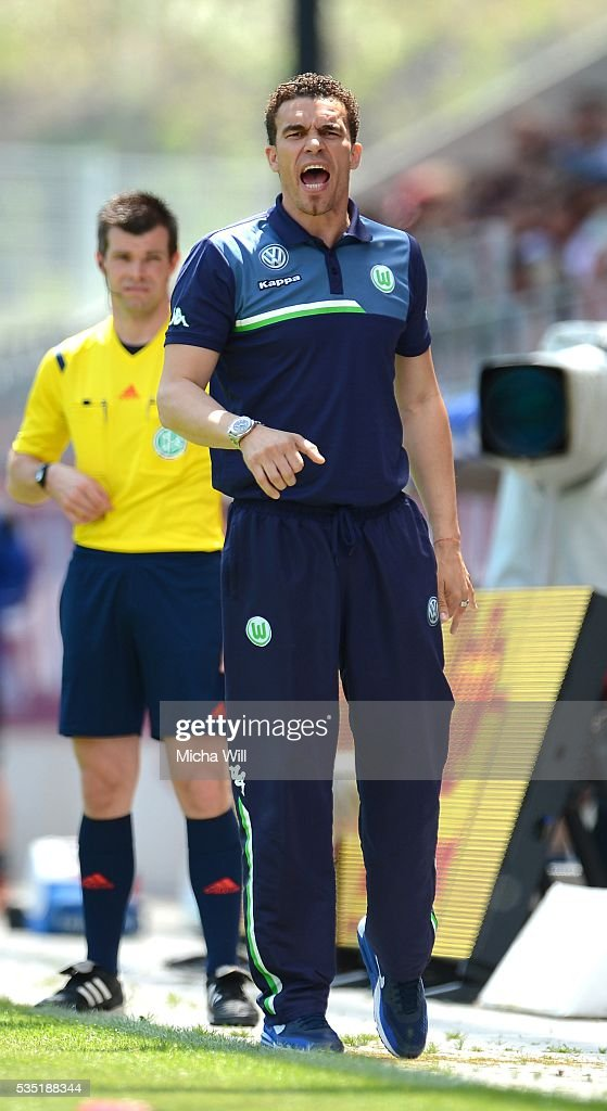 Valerien Ismael, head coach of Wolfsburg reacts during the Third League play off second leg match between Jahn Regensburg and VfL Wolfsburg II at Continental Arena on May 29, 2016 in Regensburg, Germany.