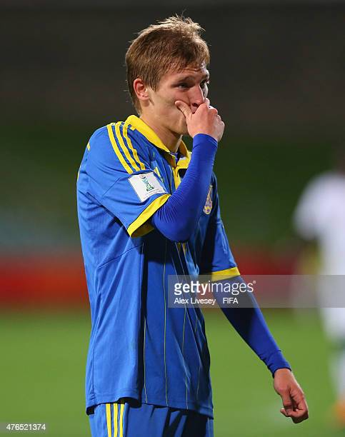 Valerii Luchkevych of Ukraine looks on during the FIFA U20 World Cup round of 16 match between Ukraine and Senegal at the North Harbour Stadium on...