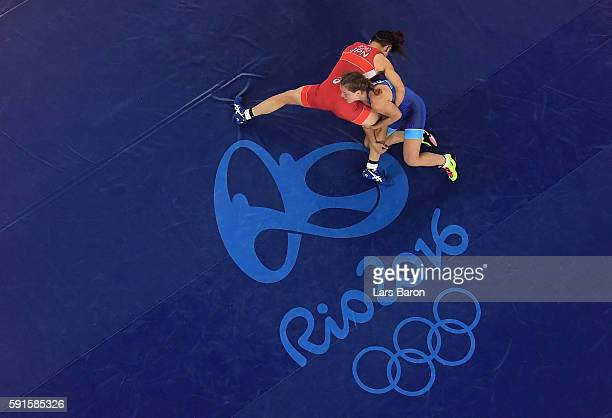 Valeriia Koblova Zholobova of Russia competes against Kaori Icho of Japan during the Women's Freestyle 58 kg Gold Medal match on Day 12 of the Rio...