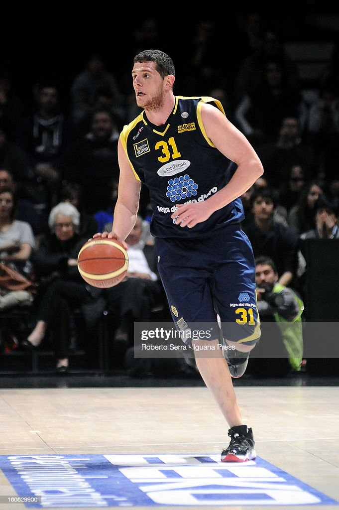 Valerio Amoroso of Sutor in action during the LegaBasket Serie A match between Virtus Bologna SAIE3 and Sutor Montegranaro at Unipol Arena on February 3, 2013 in Bologna, Italy.