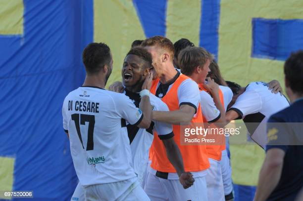 Valerio Di Cesare Parma Calcio 1913's defender and Yves Baraye Parma's forward celebrate the victory during Parma Calcio 1913 vs US Alessandria...