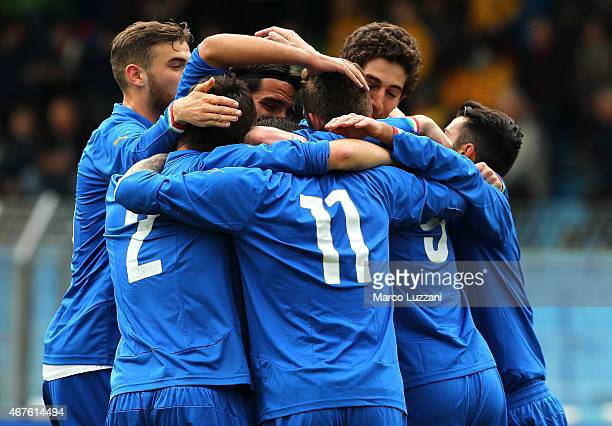 Valerio Lorenzo Rosseti of Italy celebrates with his teammates after scoring the opening goal during the 4 Nations Tournament match between Italy U20...