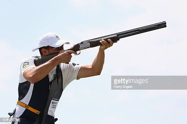 Valerio Luchini of Italy competes in the Mixed Team Skeet Final during day ten of the Baku 2015 European Games at the Baku Shooting Centre on June 22...