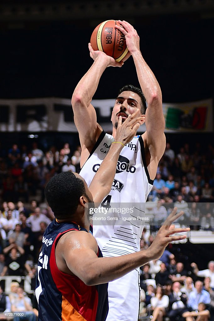 Valerio Mazzola of Granarolo competes with Austin Freeman of Acea during the LegaBasket of serie A match between Virtus Granarolo Bologna and Acea...