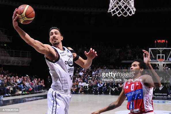 Valerio Mazzola of Granarolo competes with LaQuinton Ross of Consultinvest during the LegaBasket match between Virtus Granarolo Bologna and...