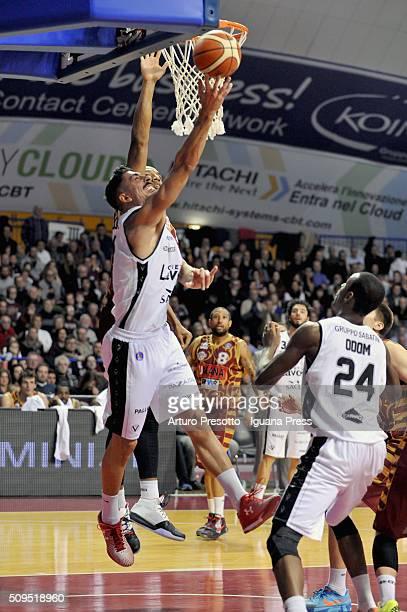 Valerio Mazzola of Obiettivo Lavoro competes with Josh Owens of Umana during the LegaBasket match between Reyer Umana Venezia and Virtus Obiettivo...