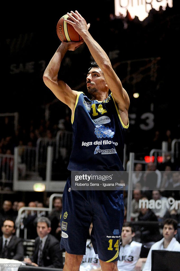 Valerio Mazzola of Sutor in action during the LegaBasket Serie A match between Virtus Bologna SAIE3 and Sutor Montegranaro at Unipol Arena on February 3, 2013 in Bologna, Italy.