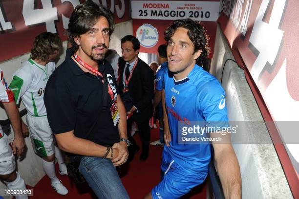 Valerio Staffelli and Luca Toni attend the XIX Partita Del Cuore charity football game at on May 25 2010 in Modena Italy