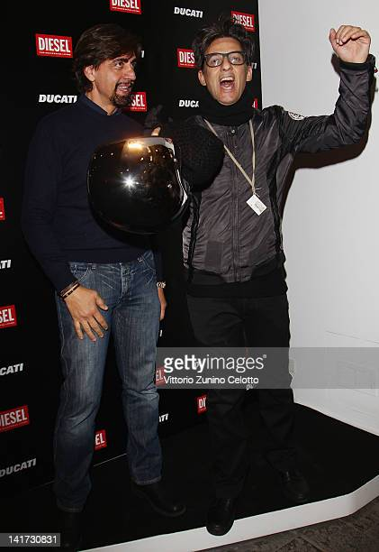 Valerio Staffelli and Rosario Fiorello attend the 'Diesel Together With Ducati' cocktail party on March 22 2012 in Rome Italy