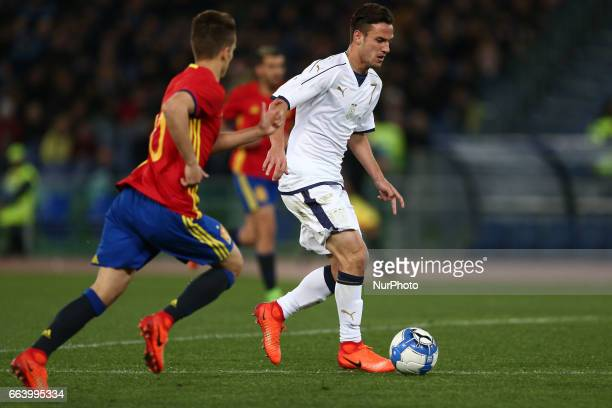 Valerio Verre of Italy U21 compete for the ball with Denis Suarez of Spain U21 during the International Friendly Under 21 Italia v Spagna at...