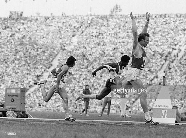 Valeriy Borzov of the Soviet Union wins the 200 metres final from Larry Black of the USA and Pietro Mennea of Italy at the Olympic Games in the...