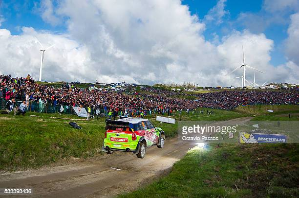 Valeriy Gorban of Ukraine and Volodymyr Korsia of Ukraine compete in their BMWMini Countryman WRC during the SS 17 Fafe of the WRC Portugal on May 22...