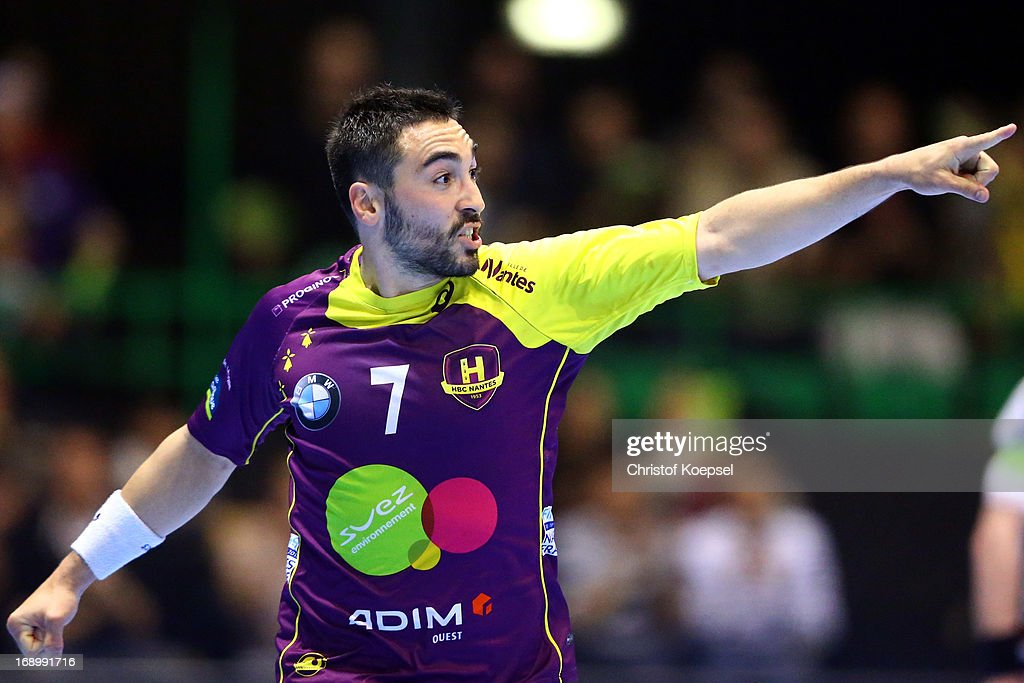 Valero Rivera of Nantes celebrates a goal during the EHF Cup Semi Final match between Tvis Holstebro and HBC Nantes at Palais des Sports de Beaulieu on May 18, 2013 in Nantes, France.