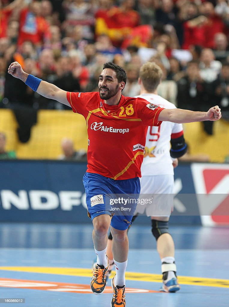Valero Rivera of Spain celebrates a goal during the Men's Handball World Championship 2013 final match between Spain and Denmark at Palau Sant Jordi on January 27, 2013 in Barcelona, Spain.