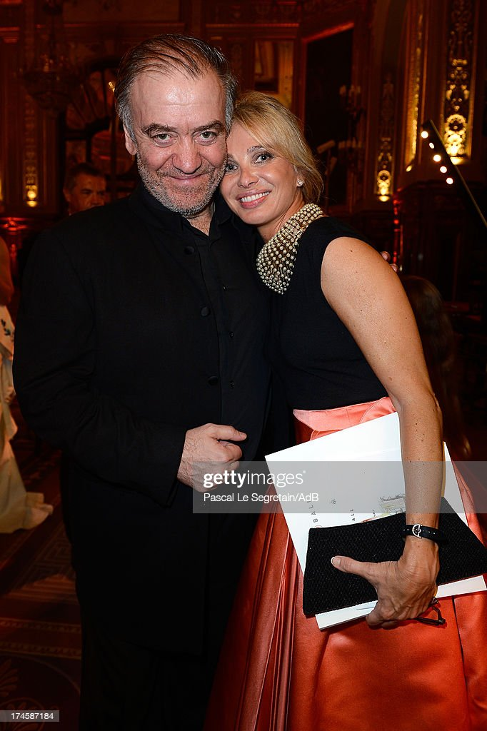 Valery Gergiev (L) and Corinna zu Sayn-Wittgenstein attend the dinner at 'Love Ball' hosted by Natalia Vodianova in support of The Naked Heart Foundation at Opera Garnier on July 27, 2013 in Monaco, Monaco.
