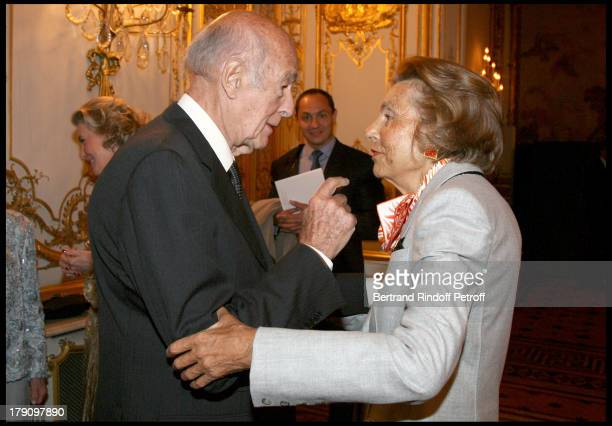 Valery Giscard D'Estaing and Liliane Bettencourt at Gala Evening For Cardiovascular Research Foundation Institut De France