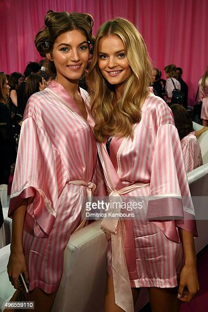 Valery Kaufman and Kate Grigorieva are seen backstage before the 2015 Victoria's Secret Fashion Show at Lexington Avenue Armory on November 10 2015...