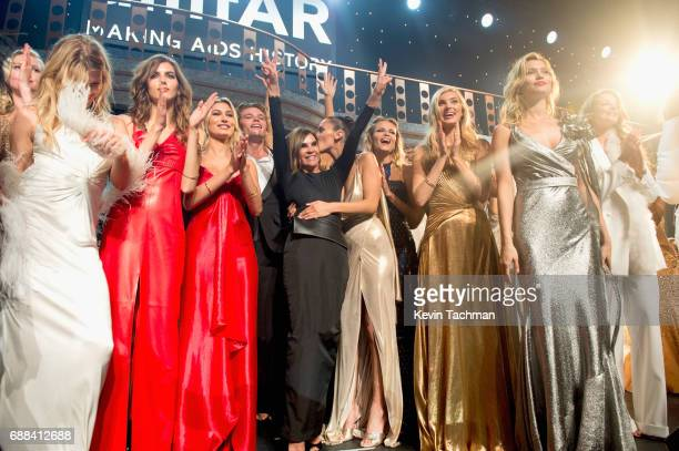 Valery Kaufman Hailey Baldwin Carine Roitfeld Bella Hadid Elsa Hosk and Hana Jirickova are seen onstage at the amfAR Gala Cannes 2017 at Hotel du...