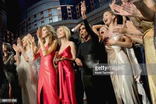 Valery Kaufman Hailey Baldwin Carine Roitfeld Bella Hadid Elsa Hosk and Hana Jirickova are seen onstage the amfAR Gala Cannes 2017 at Hotel du...