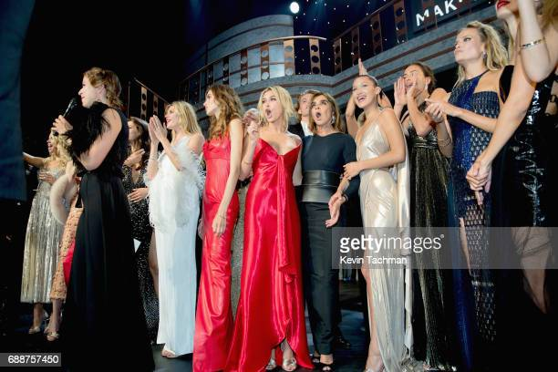 Valery Kaufman Hailey Baldwin Carine Roitfeld Bella Hadid Elsa Hosk and Hana Jirickova are seen onstage the amfAR Gala Cannes 2017 at Hotel du...
