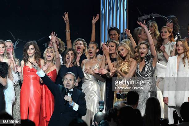 Valery Kaufman Hailey Baldwin Carine Roitfeld Simon de Pury Bella Hadid Natasha Poly Elsa Hosk Hana Jirickova and Camila Morrone are seen on stage at...
