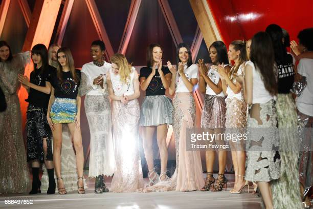 Valery Kaufman Maria BorgesNatalia VodianovaBella HadidKendall JennerNaomi Campbell and Heidi Klum pose on the runway at the Fashion for Relief event...