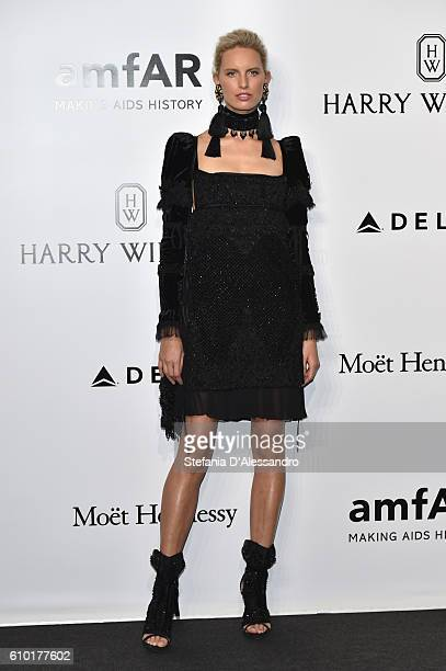 Valery Kaufman walks the red carpet of amfAR Milano 2016 at La Permanente on September 24 2016 in Milan Italy