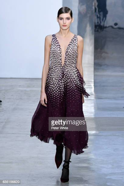Valery Kaufman walks the runway at Carolina Herrera show during New York Fashion Week on February 13 2017 in New York City
