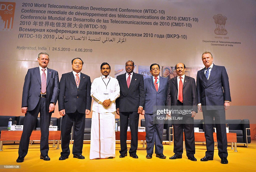Valery Timofeev, Houlin Zhao, central union minister for Communication of India A Raja, international secretary for International Telecommunications Union (ITU) Hamadoun Toure, chairman of World Telecommunication Development Conference (WTDC) P.J.Thomas, director of BDT Sami Ali Basheer and Malcolm Johnsonattend a press conference during the opening of the World Telecommunication development Conference at the Hyderabad International Convention Center (HICC) on May 24, 2010. The fifth World Telecommunication Development Conference runs from May 24 to June 4. AFP PHOTO/Noah SEELAM
