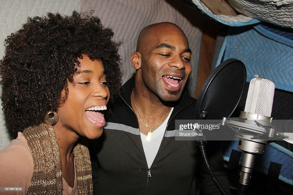 Valisia LeKae and Brandon Victor Dixon attend Broadway's 'Motown:The Musical' Original Broadway Cast Recording Session at MSR Studios in Times Square on May 2, 2013 in New York City.