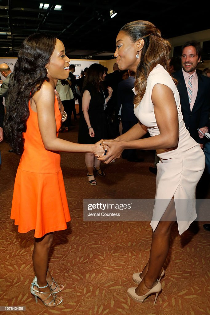 Valisia LeKae and Patina Miller attend the 2013 Tony Awards Meet The Nominees Press Reception on May 1, 2013 in New York City.