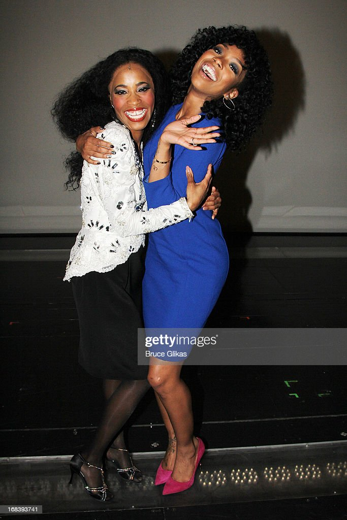<a gi-track='captionPersonalityLinkClicked' href=/galleries/search?phrase=Valisia+LeKae&family=editorial&specificpeople=9766348 ng-click='$event.stopPropagation()'>Valisia LeKae</a> as 'Diana Ross' and <a gi-track='captionPersonalityLinkClicked' href=/galleries/search?phrase=Brandy+Norwood&family=editorial&specificpeople=202122 ng-click='$event.stopPropagation()'>Brandy Norwood</a> pose backstage at the Tony Nominated hit musical 'Motown:The Musical' on Broadway at The Lunt-Fontanne Theater on May 8, 2013 in New York City.