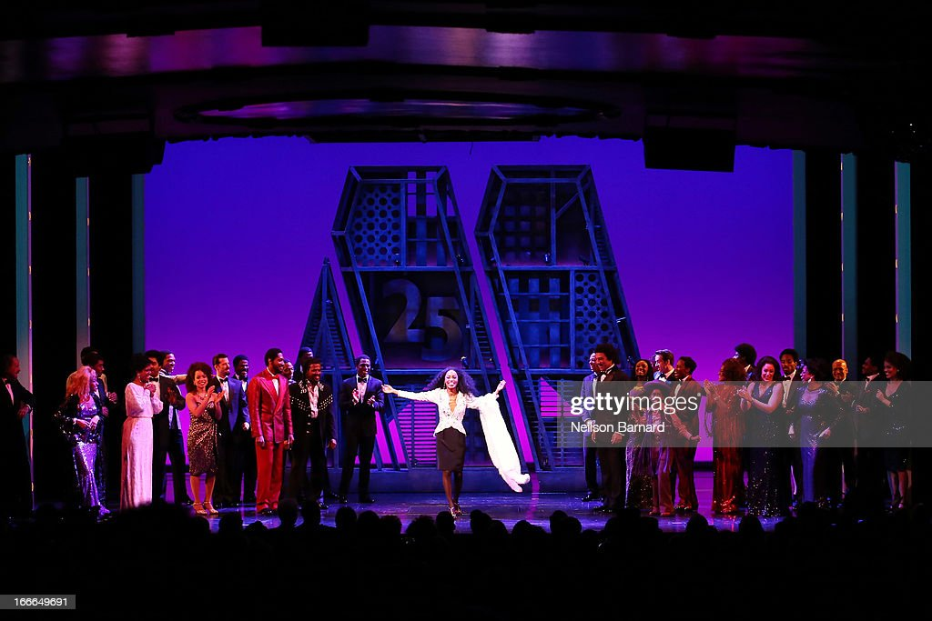 Valisia LeKae (C) attends the Broadway opening night curtain call on stage for 'Motown: The Musical' at Lunt-Fontanne Theatre on April 14, 2013 in New York City.
