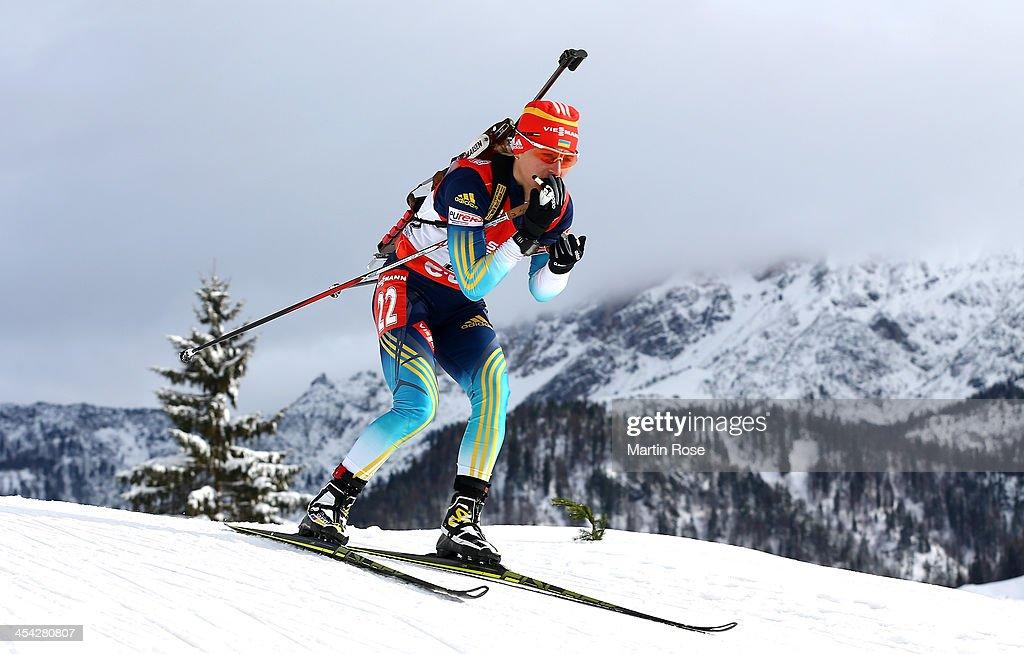 Valj Semerenko of Ukraine competes in the women's 10km pursuit event during the IBU Biathlon World Cup on December 8, 2013 in Hochfilzen, Austria.