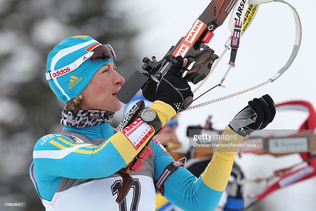 Valj Semerenko of Ukraine competes in the women's sprint during the E.ON IBU Biathlon World Cup on February 4, 2011 in Presque Isle, United States.