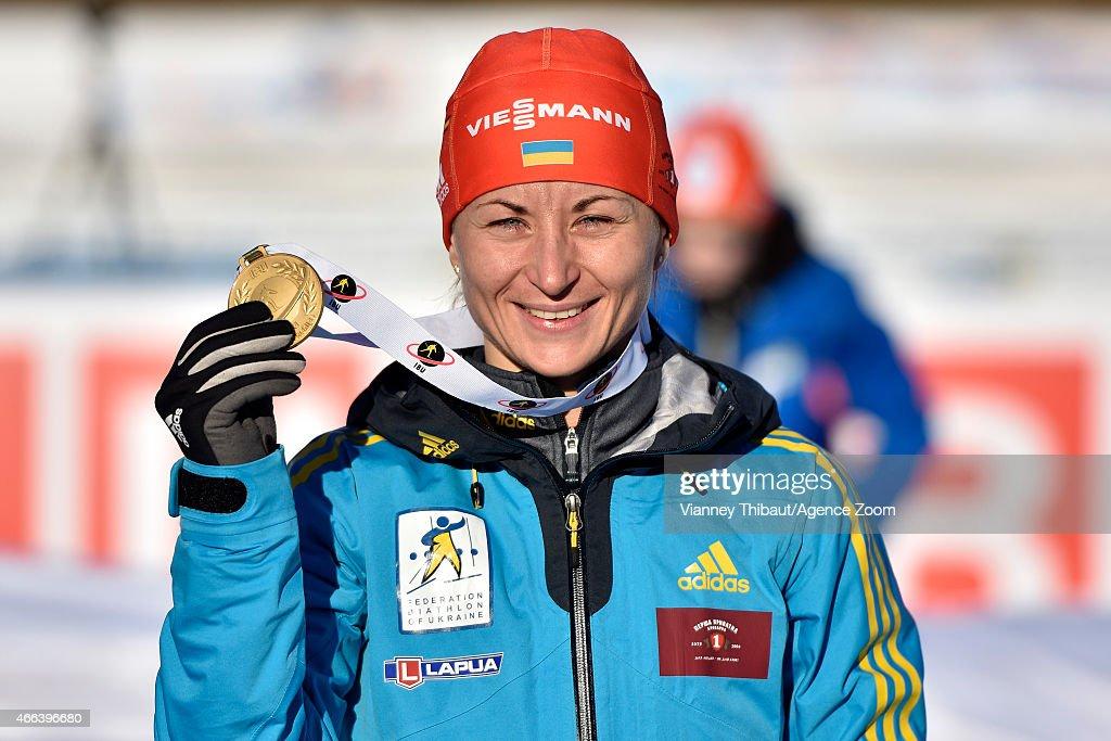 Valj Semerenko of Ukraine takes 1st place during the IBU Biathlon World Championships Men's and Women's Mass Start on March 15, 2015 in Kontiolahti, Finland.