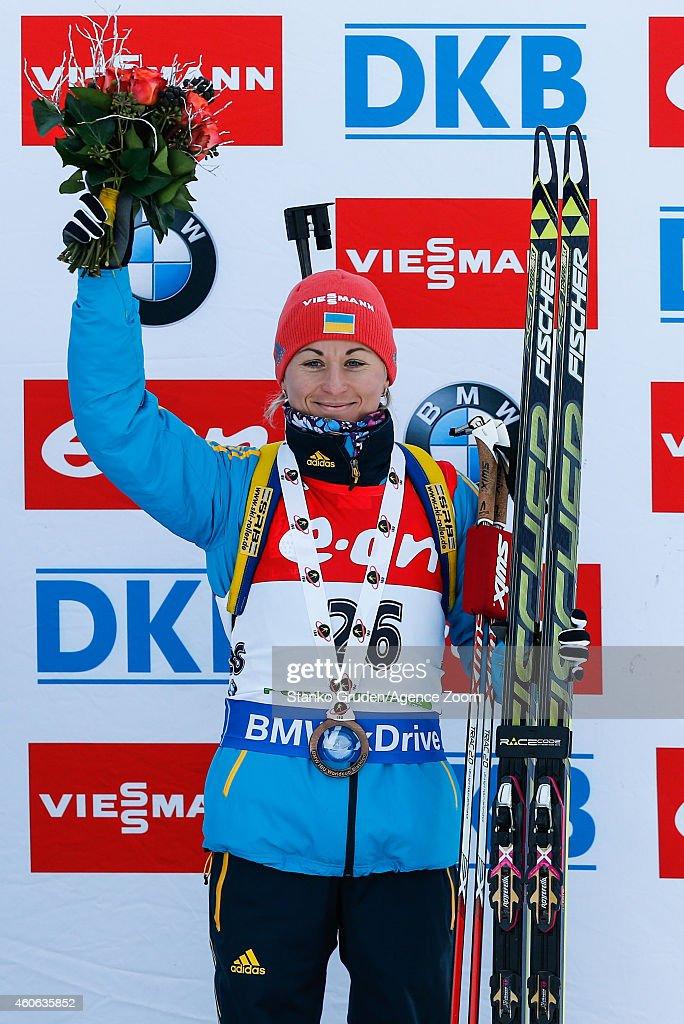 Valj Semerenko of Ukraine takes 3nd place during the IBU Biathlon World Cup Women's Sprint on December 18, 2014 in Pokljuka, Slovenia.