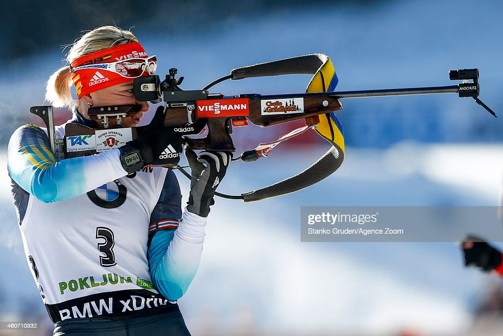Valj Semerenko of Ukraine takes 3rd place during the IBU Biathlon World Cup Men's and Women's Pursuit on December 20, 2014 in Pokljuka, Slovenia.