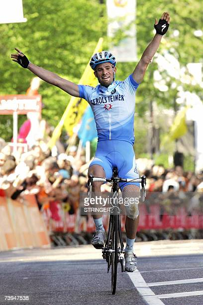 German rider Stefan Schumacher celebrates after crossing the finish line of the Amstel Gold classic cycling race in Valkenburg 22 April 2007 a 252...