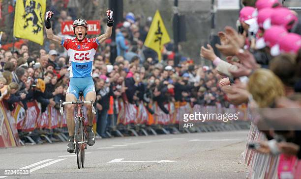 Luxembourg's Frank Schlek wins the 41st running of the 2531kilometer Amstel Gold race counting toward the proTour series 16 April 2006 at Valkenburg...
