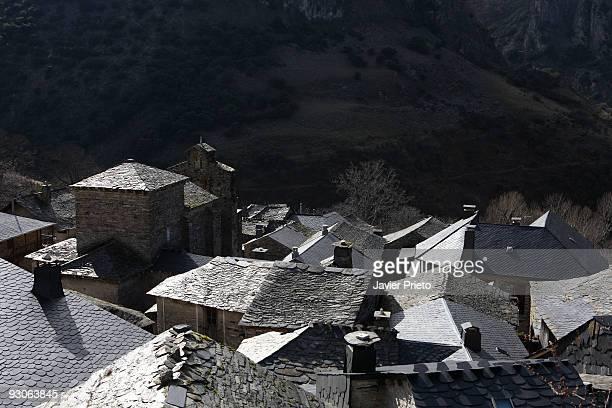 Valle de Silencio El Bierzo Leon Church of Santiago de Penalba and tiled roof Penalba de Santiago Montes Aquilanos El Bierzo The valley shaped by...